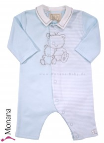 Emile et pink baby pyjama blue with Teddy-Stickerei