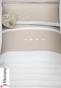 Dilibest by Picci bed linen for cot bed Mod. 15 Miro greige <b>Ready for delivery