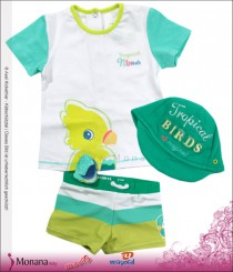 Mayoral Bade-Set mit Badehose, T-Shirt & Baby-Cap Tropical<br>Größe: 74