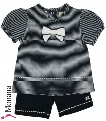 Emile et pink baby set dark blue t-shirt & shorts