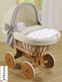 Leipold wicker drape crib with hood and big wheels natural in Paolo beige