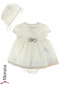 Mayoral baby dress cream with panties and Haube
