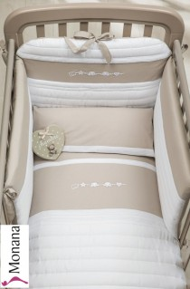 Dilibest by Picci bedding set Mod. 15 Miro greige fabric veil, bed linen and bumper <b>Ready for delivery