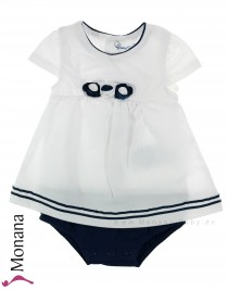 Mayoral dress romper white-navy