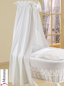 Leipold fabric veil for wicker crib in Leone