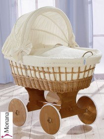 Leipold wicker drape crib with hood and big wheels natural in Naturell