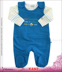 Kanz Baby-Strampler & Shirt Step 1: crawling - Step 2: walking - Step 3: Football-Star<br>Größe: 44, 50, 56, 62, 68