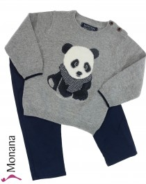 Mayoral child fashion set trousers & sweater Panda