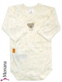Steiff Collection Langarm-Wickel-Body ecru-rosa<br>Größe: 50, 68, 80, 86