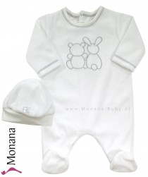 Emile et pink Nicki-Baby-Overall white with Babymütze