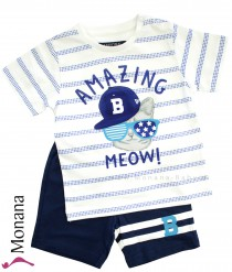 Mayoral 2-teiliges Kindermode-Set T-Shirt & Shorts Amazing Meow<br>Größe: 80, 86