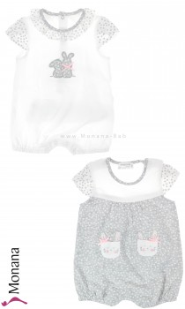 Mayoral 2er Set romper gray & white