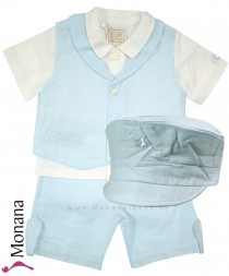 Emile et pink Leinen-Anzug with Hemd, Weste, shorts & Cap light blue