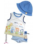 Mayoral Bade-Set mit Badehose, T-Shirt & Baby-Hut Lets go to the Beach<br>Größe: 62
