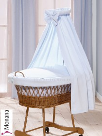 Leipold draping for wicker crib with veil in Wendy bleu Delivery without bed linen <b>Ready for delivery