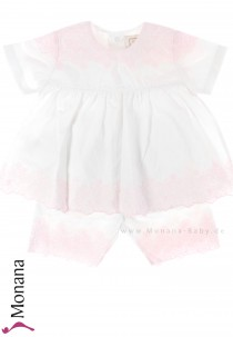 Emile et pink Babyset with t-shirt & trousers white-pink