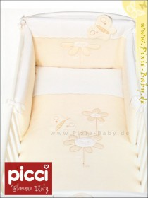 Picci bedding set Mod. 14 Trésor cream*** fabric veil, bed linen and bumper <b>Ready for delivery