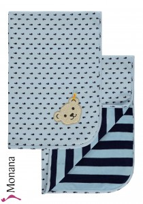 Steiff Collection Babydecke Wellness Wear hellblau<br>Maße: 65 x 95 cm<br><b>Sofort lieferbar</b>