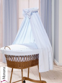 Leipold fabric veil for wicker crib in Wendy bleu
