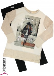 Mayoral child fashion set shirt & leggings The World is my Runway