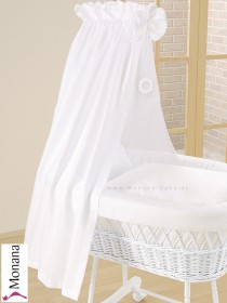 Leipold fabric veil for wicker crib in Topas