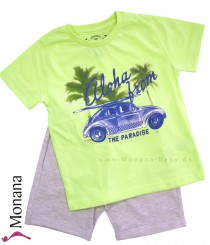 Mayoral two-pieces child fashion set t-shirt neon green & shorts