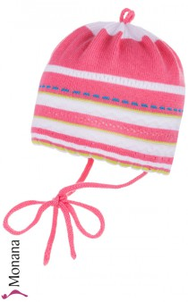 Maximo Baby-Strickm�tze wei�-pink<br>Gr��e: 35, 37, 39, 41, 43, 45