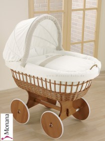 Leipold wicker drape crib with hood and big wheels natural in Amadeus Bär (Color: white / beigebraun) <b>Mit Bettwäsche</b> <b>Ready for delivery