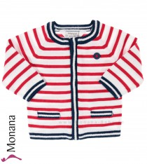 Mayoral knit baby jacket rot-weiß