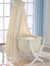 Leipold baby crib Xaver white fully garnished in Lollipop beige