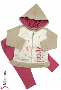 Mayoral child fashion set sweat jacket & leggings Pinguin-Girls
