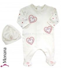 Emile et pink Overall white & new born hat