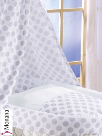 Leipold bed linen in Popstar dots (Color: white / hellgrau) 80 x 80 cm & 35 x 40 cm <b>Ready for delivery