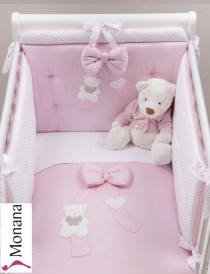 Picci bedding set Mod. 15 Coco pink fabric veil, bed linen and bumper