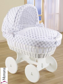 Leipold wicker drape crib with hood and big wheels white in Popstar dots (Color: white / hellgrau) <b>Ready for delivery