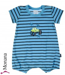 Schiesser baby romper short sleeve body blue Monster Trucks