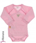 Steiff Collection Langarm-Wickel-Body Ringel rosa<br>Größe: 50, 86