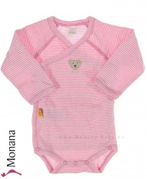 Steiff Collection Langarm-Wickel-Body Ringel rosa<br>Größe: 50, 80, 86