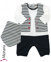 Emile et pink baby pyjama dark blue with scarf