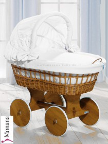 Leipold wicker drape crib with hood and big wheels natural in Wendy white