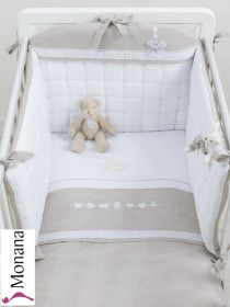 Dilibest by Picci bedding set Mod. 15 Coffee fabric veil, bed linen and bumper <b>Ready for delivery
