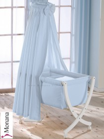 Leipold baby crib Xaver white fully garnished in Lollipop bleu