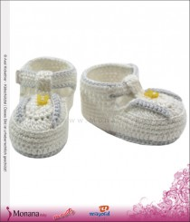 Mayoral Baby-Häkel-Schuhe white with Hasenknopf