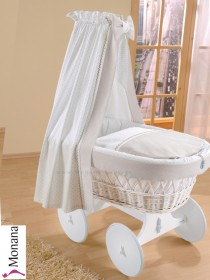 Leipold draping for wicker crib with veil in Leone Delivery without bed linen <b>Ready for delivery