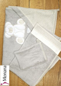 Dilibest by Picci bath set - hooded towel, bath towel and flannel Mousse cream <b>Ready for delivery