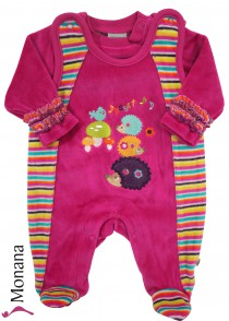 Jacky velvet romper & baby shirt Forest Friends