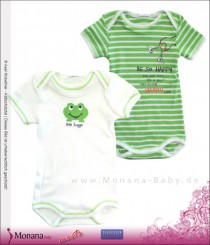 Schiesser Kurzarm-Babybody-Set Doppelpack - Little Froggie + Be so happy...<br>Größe: 56