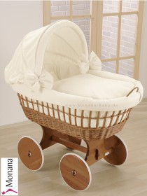 Leipold wicker drape crib with hood and big wheels natural in Wendy beige
