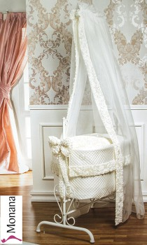 Picci iron cradle Queen white Flora cream fully garnished without bed linen with Swarovski elements