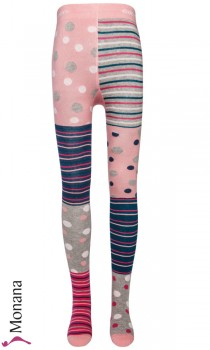 Ewers tights Pippi-Longstocking pink-rosa-grau